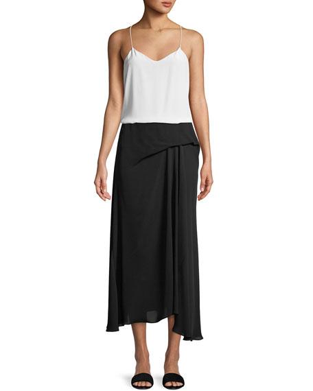 Side-Drape Classic Silk Georgette Midi Skirt