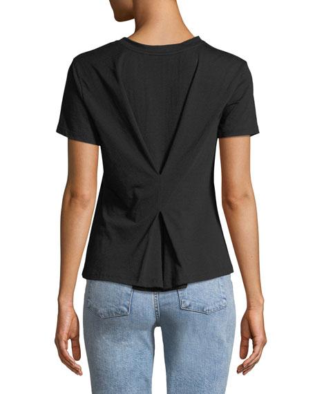 Crewneck Short-Sleeve Cinch-Back Compact Cotton Jersey Tee