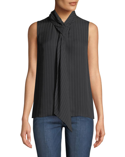 Pinstriped Tie-Neck Draped Silk Shell