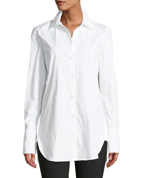 Classic Button-Down Long-Sleeve Stretch-Cotton Tuxedo Shirt