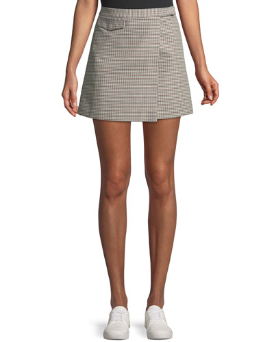 Snap-Tab Fremont Plaid Wrap Mini Skirt