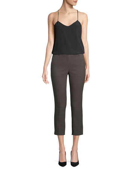 Treeca 2 Dotted-Jacquard Straight-Leg Cropped Pants