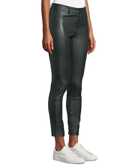 Five-Pocket Skinny Bristol Leather Cropped Pants