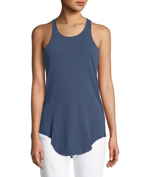 Base Layer Scoop-Neck Cotton Tank, Dark Blue