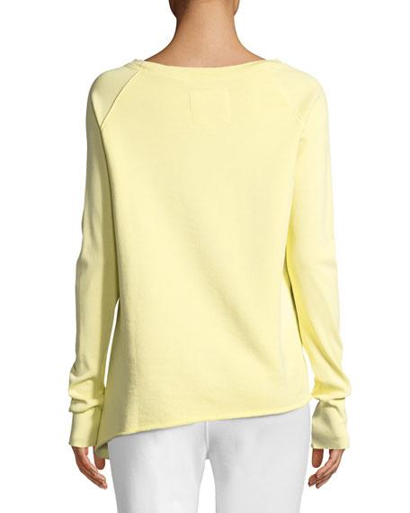 Asymmetric Cotton Sweatshirt, Yellow