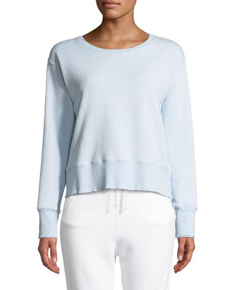 Frayed Crewneck Cotton Sweatshirt