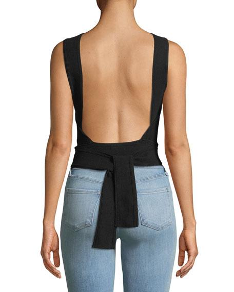 Raeni Open-Back Halter Sweater Top