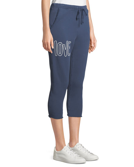 Cropped Love Raw-Edge Graphic Sweatpants
