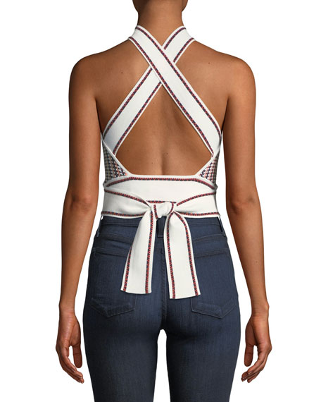 Raeni Cropped Halter Sweater Top