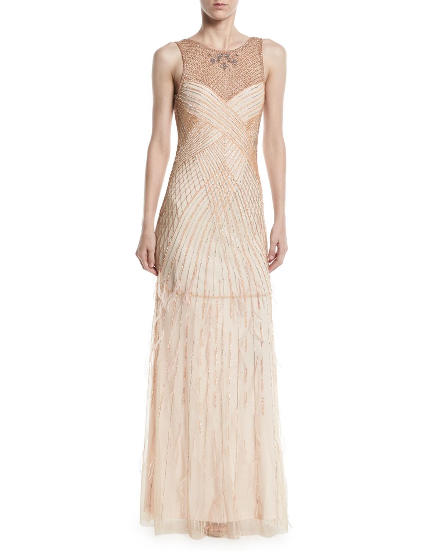 Parker Black Manuela Beaded Gown w/ Open Back | Neiman Marcus