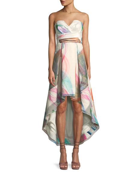 Parker Black Jada Printed Strapless Bustier High-Low Dress