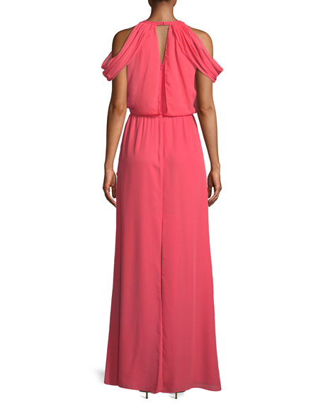 Marcy Cold-Shoulder Keyhole Gown
