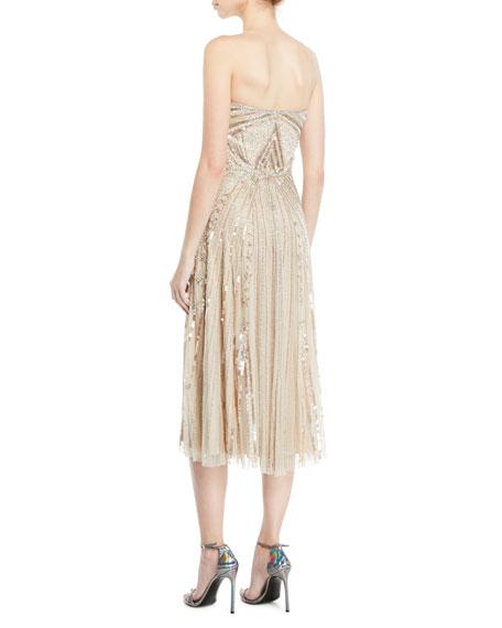 Lola Strapless Midi Dress w/ Beading