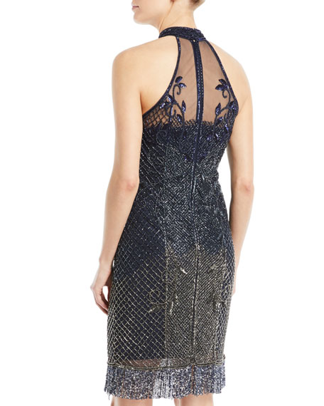 Polly Beaded Halter Cocktail Dress w/ Fringe