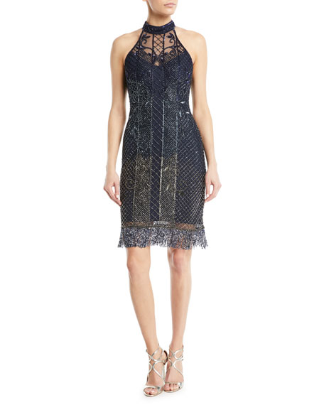 Parker Black Polly Beaded Halter Cocktail Dress w/