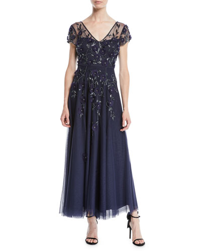 Jillian V-Neck Gown w/ Beading