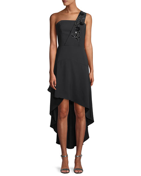 Parker Black Heather Crepe Cocktail Dress w/ Beaded