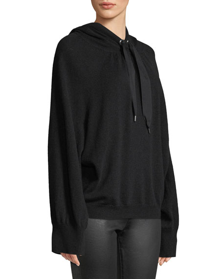 Hooded Cashmere Pullover with Contrast Ties