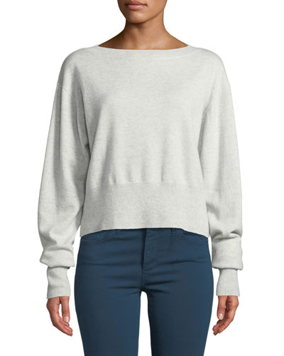 Cropped Boxy Boat-Neck Cashmere Sweater
