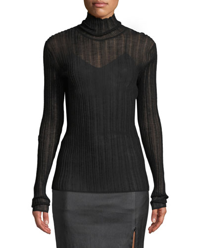 Sheer Fitted Wool Turtleneck Sweater