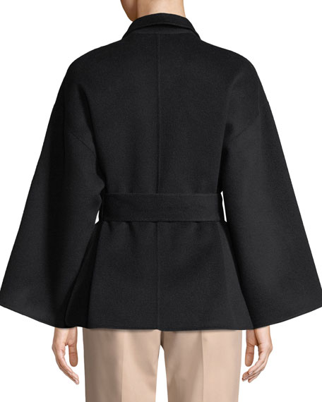 Notched-Collar Belted New Divide Wool-Cashmere Robe Jacket