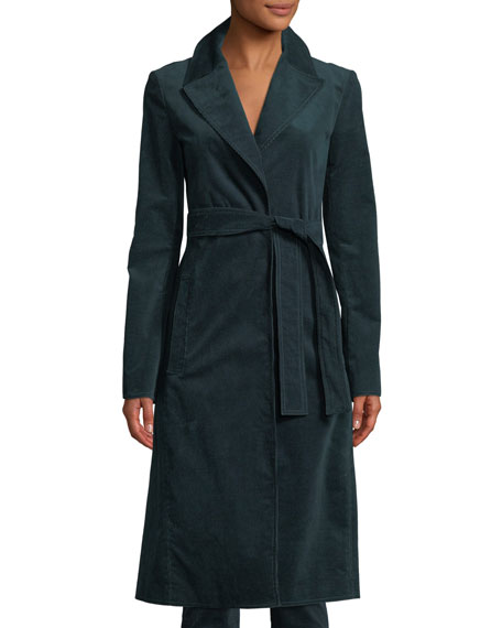 Cinched Belted Oslo Corduroy Trench Coat