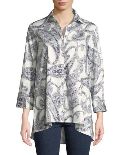 Long-Sleeve Paisley-Print Trapeze Shirt