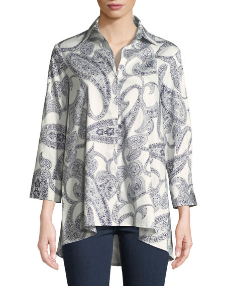 FINLEY Long-Sleeve Paisley-Print Trapeze Shirt in White/Blue