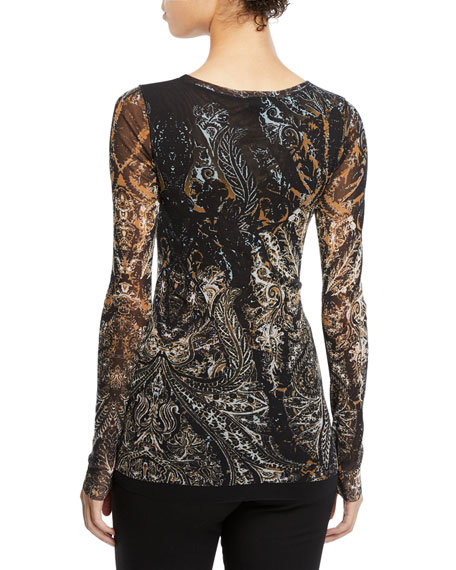 Paisley-Print Tulle Long-Sleeve Top