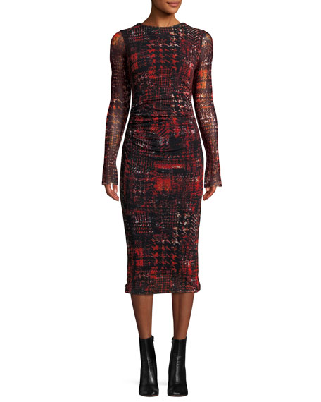 Long-Sleeve Shirred Plaid Midi Sheath Dress