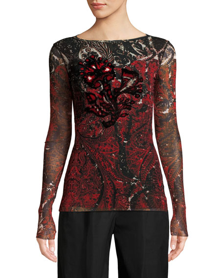 Fuzzi Long-Sleeve Embroidered Print Top and Matching Items