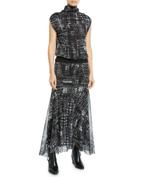 Full Plaid-Print Tulle Maxi Skirt