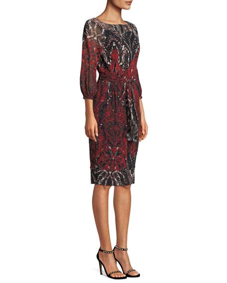 3/4-Sleeve Belted Damask-Print Tulle Dress