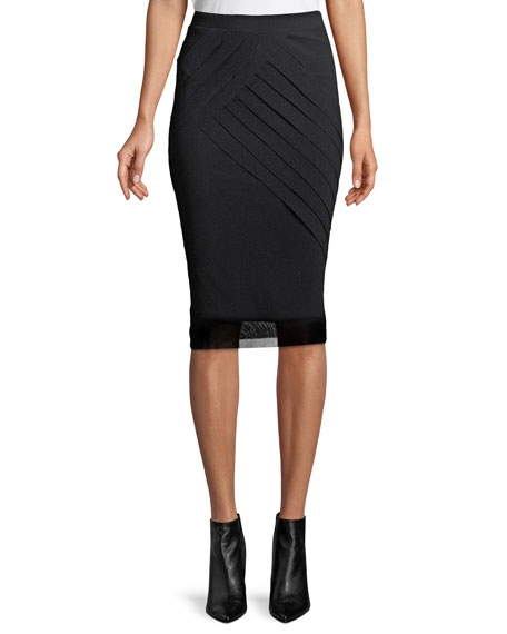 Tucked-Side Tulle Pencil Skirt