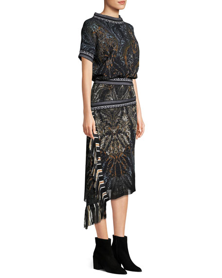 Paisley-Print Tulle Blouson Dress w/ Asymmetric Fringe