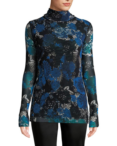 Floral Lace Printed Tulle Turtleneck Top