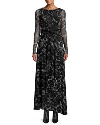 Floral Lace Long-Sleeve Wrap-Waist Maxi Dress