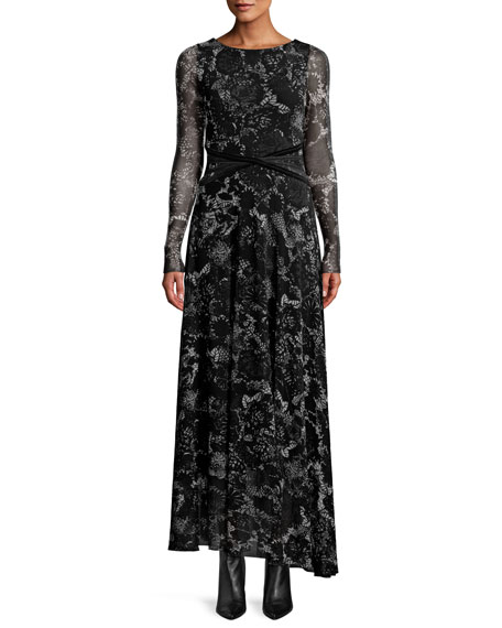 FLORAL LACE LONG-SLEEVE WRAP-WAIST MAXI DRESS