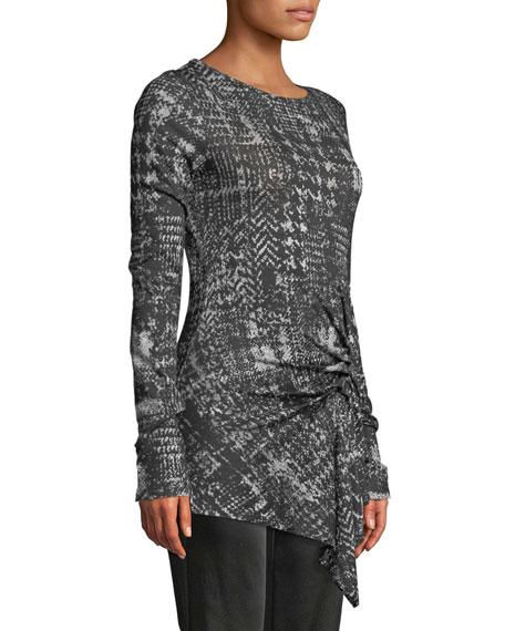 Long-Sleeve Plaid Shirred-Side Wool Jersey Top