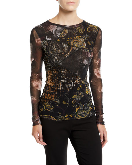 Patchwork-Print Tulle Long-Sleeve Top