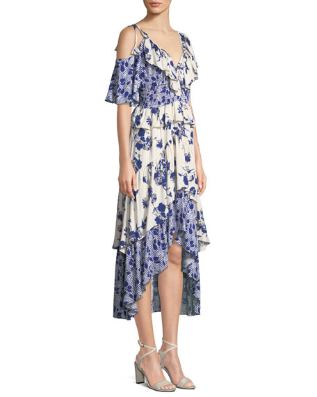 Liv Floral-Print Ruffle High-Low Dress