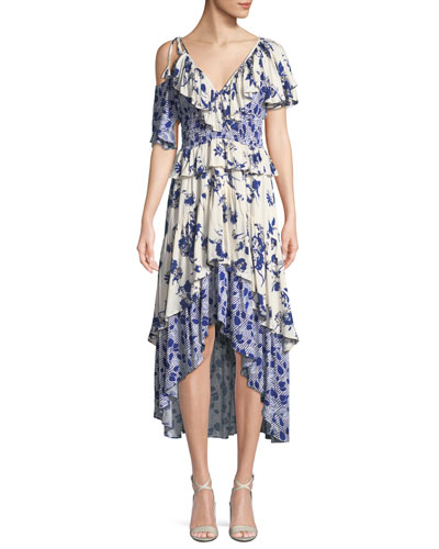 Liv Floral-Print Ruffle High-Low Dress