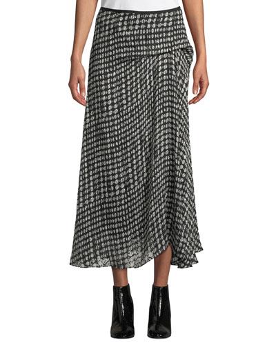 Side-Drape Oval-Print Midi Skirt