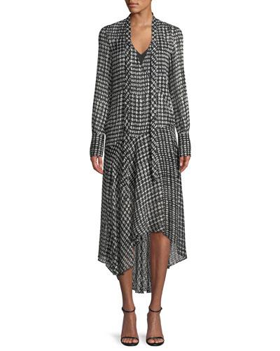 Tie-Neck Long-Sleeve Broken Oval Silk-Blend Scarf Wrap Dress