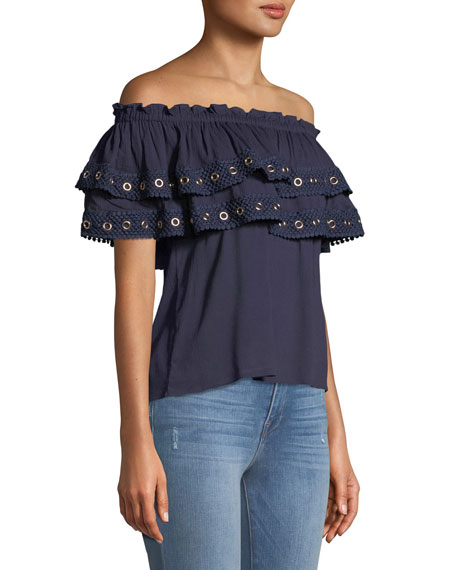 Seona Off-the-Shoulder Ruffle Top