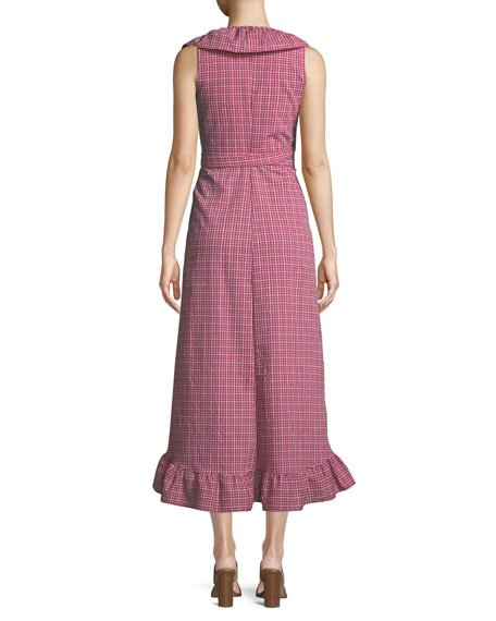 Stella Gingham-Print Draped Ruffle Midi Dress