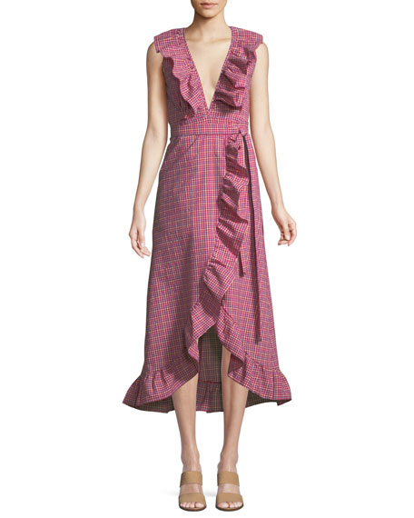 Misa STELLA GINGHAM-PRINT DRAPED RUFFLE MIDI DRESS
