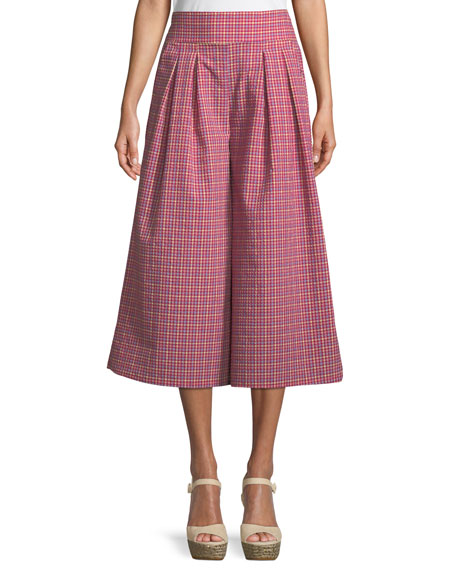 MISA Los Angeles Matos High-Rise Wide-Leg Gingham Pants