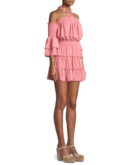 Elisa Cold-Shoulder Ruffle Mini Dress