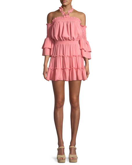 MISA Los Angeles Elisa Cold-Shoulder Ruffle Mini Dress